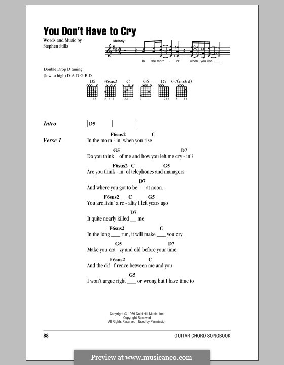 You Don't Have to Cry (Crosby, Stills & Nash): Lyrics and chords by Stephen Stills