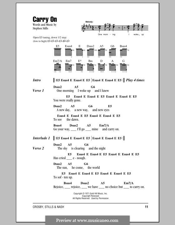 Carry on (Crosby, Stills & Nash): Lyrics and chords by Stephen Stills