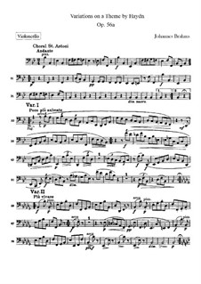 Variations on a Theme by Haydn, Op.56a: Cello part by Johannes Brahms