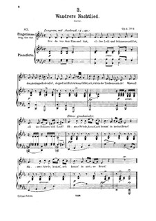 Wanderer's Night Song I, D.224 Op.4 No.3: For medium voice and piano by Franz Schubert