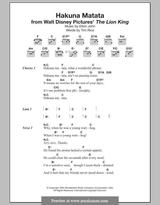 Hakuna Matata (from The Lion King): Lyrics and chords by Elton John