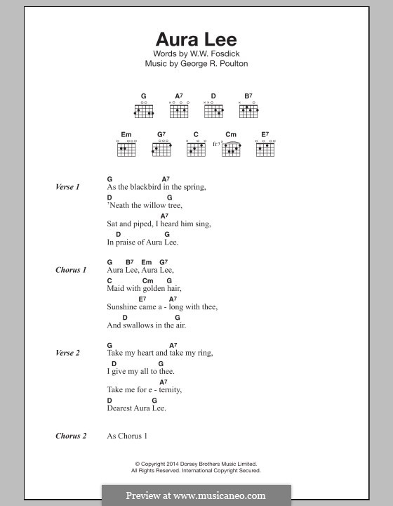 Aura Lee: Lyrics and chords by George R. Poulton