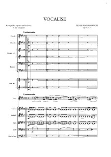 Vocalise, Op.34 No.14: For solo and symphonic orchestra by Sergei Rachmaninoff