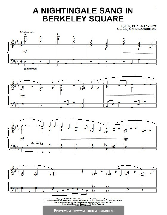 A Nightingale Sang in Berkeley Square: For piano by Eric Maschwitz, Manning Sherwin