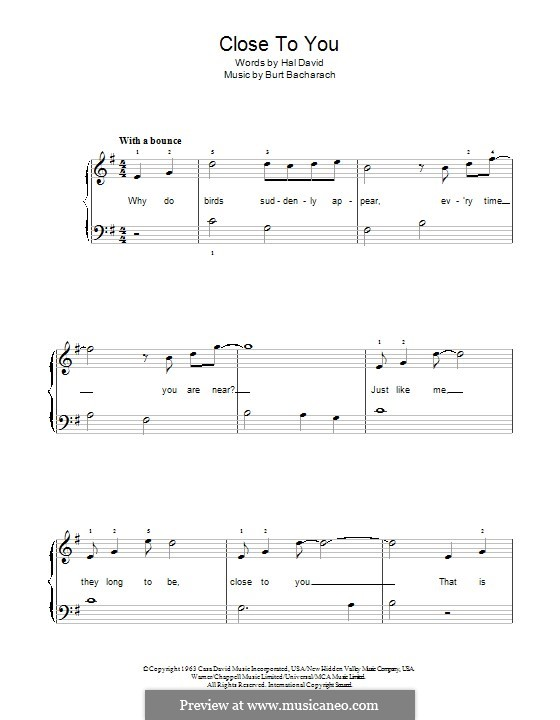 Close to You (They Long to be): For piano by Burt Bacharach