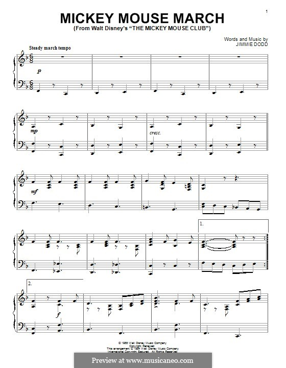 Mickey Mouse March: For piano by Jimmie Dodd