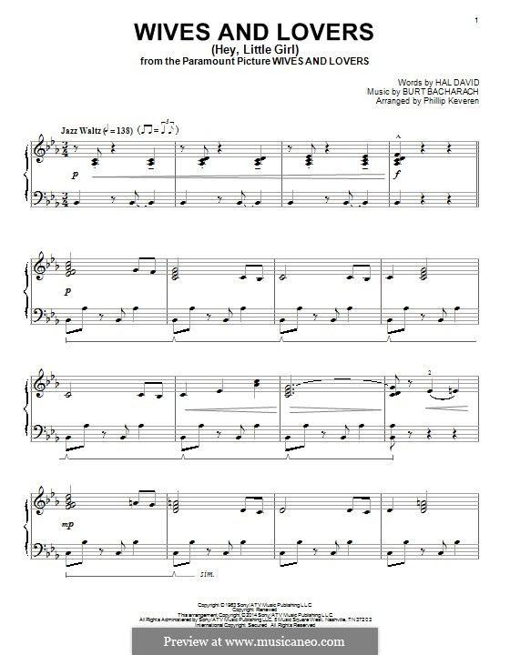 Wives and Lovers (Hey, Little Girl): For piano by Burt Bacharach