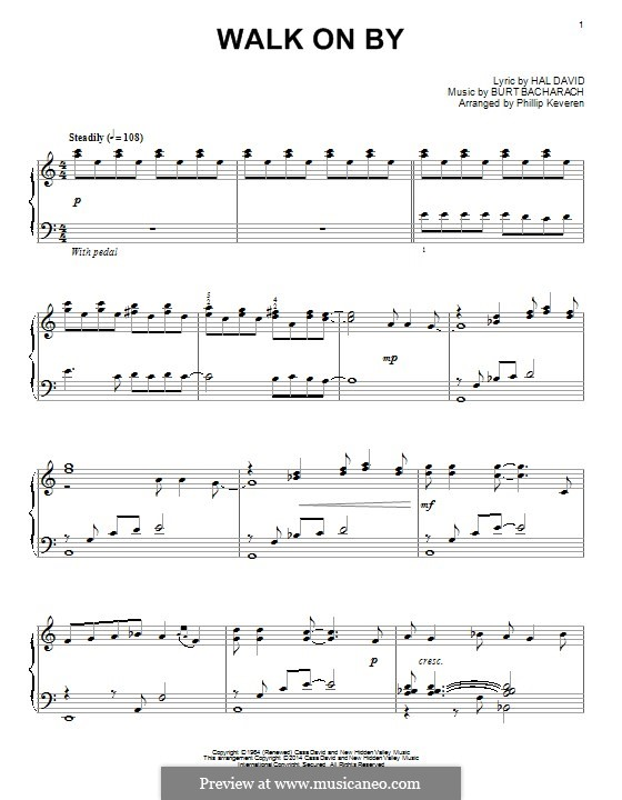 Walk on By: For piano by Burt Bacharach