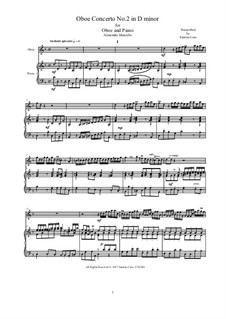 Concerto for Oboe and Stings in D Minor, Op.2: Version for flute and piano, AMCStr212 by Alessandro Marcello
