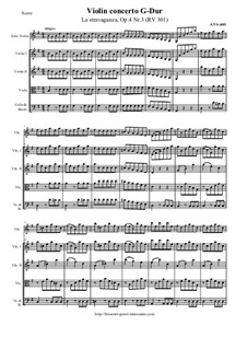 La stravaganza. Twelve Violin Concertos, Op.4: Violin Concerto No.3 in G Major – score and all parts, RV 301 by Antonio Vivaldi