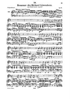 Romance of Richard the Lionheart, D.907 Op.86: For medium voice and piano by Franz Schubert