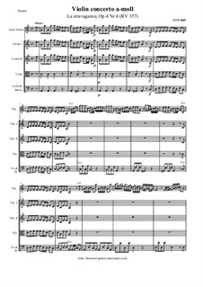La stravaganza. Twelve Violin Concertos, Op.4: Violin Concerto No.4 in A Minor – score and all parts, RV 357 by Antonio Vivaldi