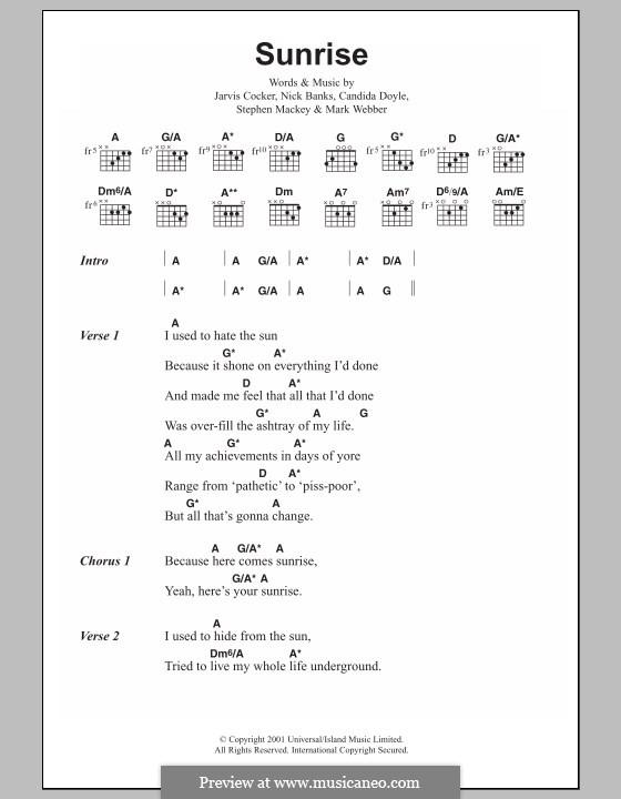 Sunrise (Pulp): Lyrics and chords by Candida Doyle, Jarvis Cocker, Mark Webber, Nick Banks, Stephen Mackey