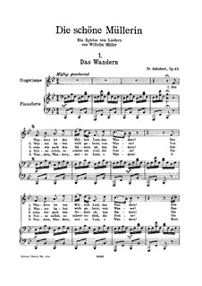 No.1 Das Wandern (Wandering): For high voice and piano by Franz Schubert