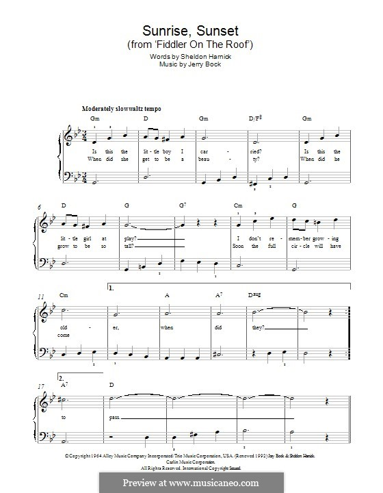 Sunrise, Sunset (from Fiddler on the Roof): For piano by Jerry Bock