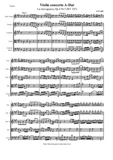 La stravaganza. Twelve Violin Concertos, Op.4: Violin Concerto No.5 in A Major – score and all parts, RV 347 by Antonio Vivaldi