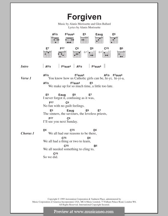 Forgiven (Alanis Morissette): Lyrics and chords by Glen Ballard
