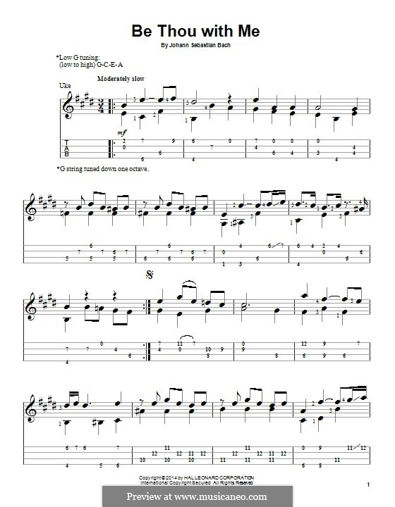 No.25 Bist du bei mir (You Are with Me), Printable scores: For ukulele by Johann Sebastian Bach