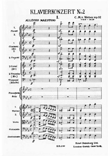 Concerto for Piano and Orchestra No.2, J.155 Op.32: Movement I by Carl Maria von Weber