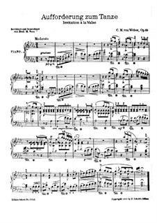Invitation to the Dance, J.260 Op.65: For piano (version by F. M. Voss) by Carl Maria von Weber