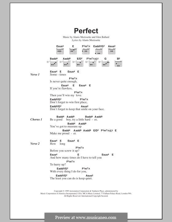 Perfect: Lyrics and chords by Alanis Morissette, Glen Ballard