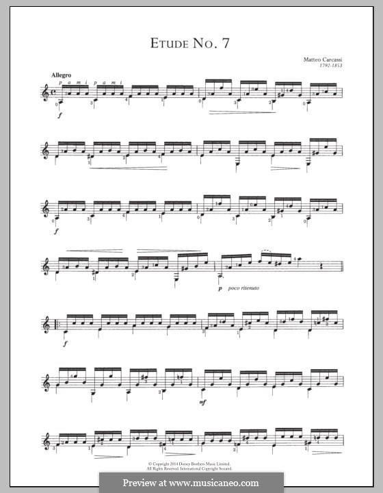 Twenty-Five Etudes for Guitar, Op.60: No.7 by Matteo Carcassi