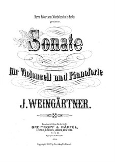 Sonata for Cello and Piano in F Major: Score by J. Weingärtner