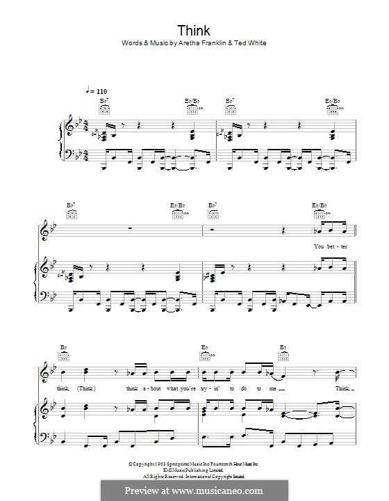 Think (from Captain Underpants: The First Epic Movie): For voice and piano (or guitar) by Aretha Franklin, Ted White