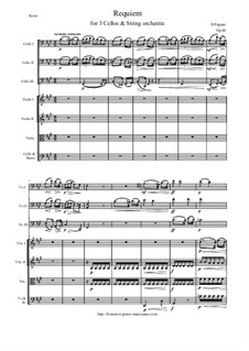 Requiem, for Three Cellos and Piano, Op.66: Arrangement for three cellos and string orchestra - score and all parts by David Popper