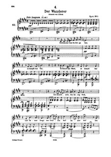 The Wanderer, D.493 Op.4 No.1: For high voice and piano by Franz Schubert