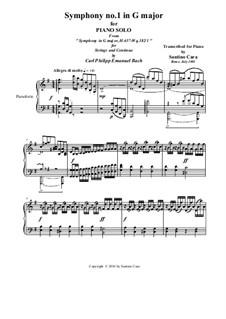 Six Symphonies, Wq 182: Symphony No.1 in G  Major - piano version, H 657 by Carl Philipp Emanuel Bach