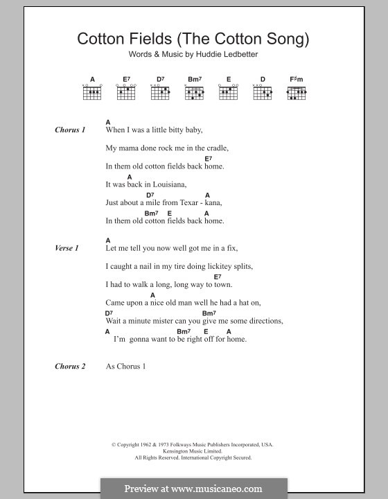 Cotton Fields (The Cotton Song): Lyrics and chords by Huddie Ledbetter
