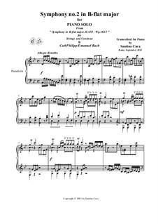 Six Symphonies, Wq 182: Symphony No.2 in B Flat Major - piano version, H 658 by Carl Philipp Emanuel Bach