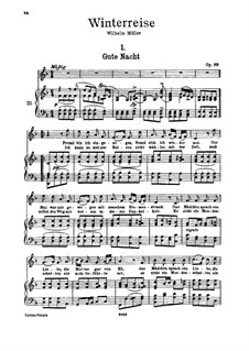 No.1 Gute Nacht (Good Night): For high voice and piano by Franz Schubert