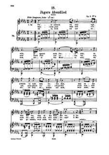Huntsman's Evening Song, D.368 Op.3 No.4: For high voice and piano by Franz Schubert