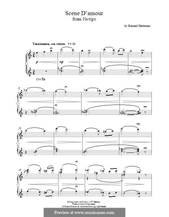 Scene d'Amour (from Vertigo): For piano by Bernard Herrmann