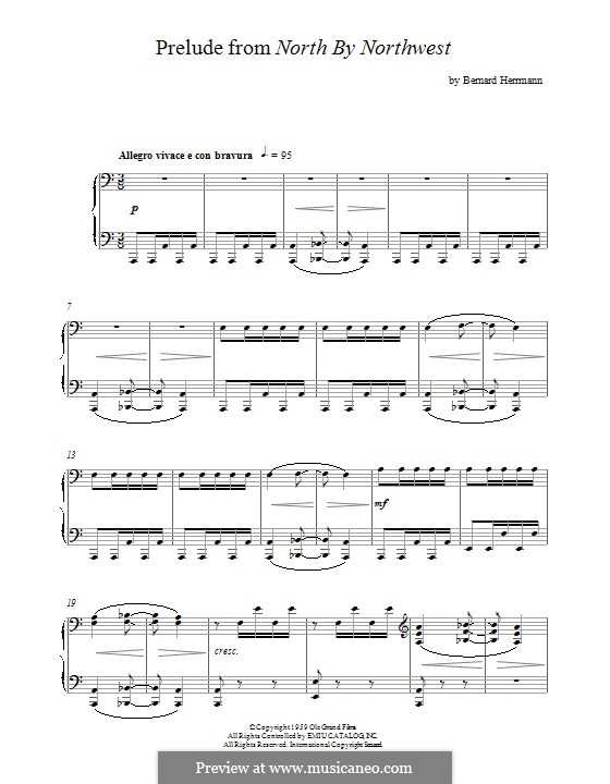 Prelude from North By Northwest: For piano by Bernard Herrmann