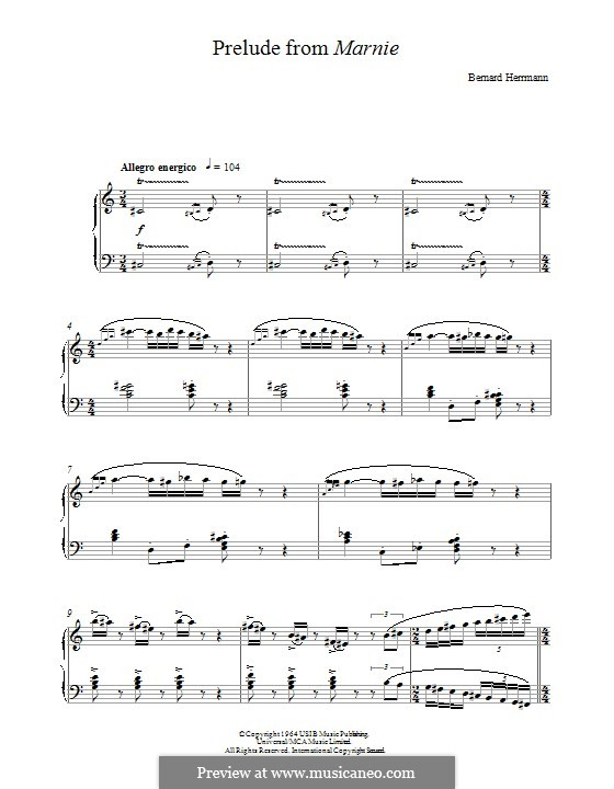 Prelude from Marnie: For piano by Bernard Herrmann
