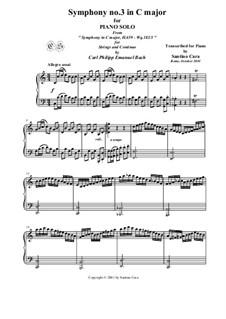 Six Symphonies, Wq 182: Symphony No.3 in C Major - piano version, H 659 by Carl Philipp Emanuel Bach