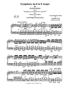 Six Symphonies, Wq 182: Symphony No.6 in E Major - piano version, H 662 by Carl Philipp Emanuel Bach