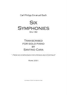 Six Symphonies, Wq 182: Complete set (piano version) by Carl Philipp Emanuel Bach