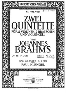 String Quintet No.2 in G Major, Op.111: Version for piano by Johannes Brahms