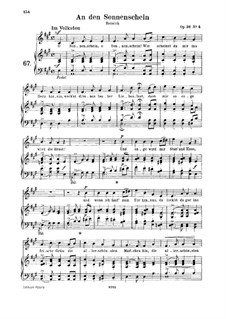 Six Poems, Op.36: No.4 To the Sunshine, for medium voice and piano by Robert Schumann