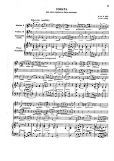 Trio Sonata for Two Violins and Basso Continuo in G Major, H 583 Wq 157: Score, parts by Carl Philipp Emanuel Bach