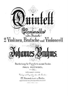 Quintet for Clarinet and Strings in B Minor, Op.115: Version for piano by Johannes Brahms