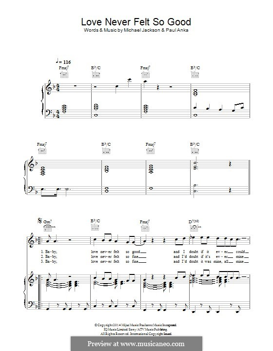 Love Never Felt So Good For Voice And Piano Or Guitar By Michael
