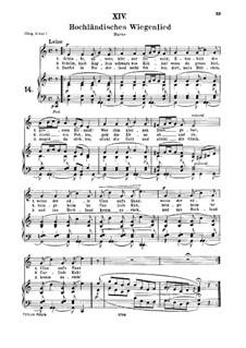 No.14 Hochländisches Wiegenlied (Highland Lullaby): For medium voice and piano by Robert Schumann
