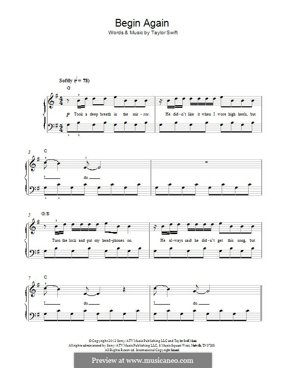 Begin Again: For piano by Taylor Swift