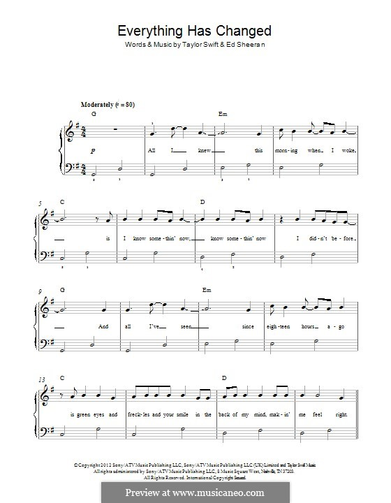 Everything Has Changed (Taylor Swift) by E. Sheeran on MusicaNeo