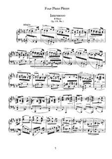 Four Pieces, Op.119: No.1 Intermezzo in B Minor by Johannes Brahms